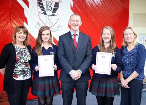 Shauna Murray and Rachel Lyons who both received 10 A's in their Junior Certificate
