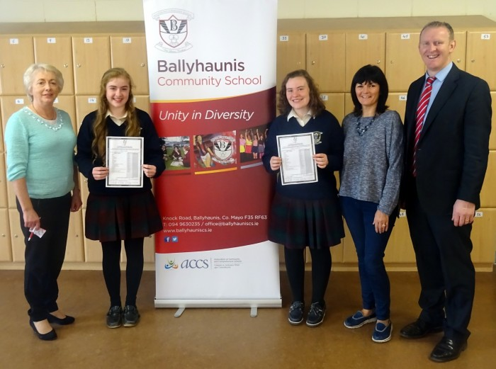 Jessica Klein and Roisin Cassidy who both received 10 A grades in their Junior Certificate